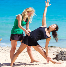 Yoga session on the beach